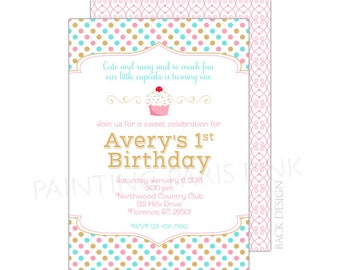 Little Cupcake Invitation   Printable OR Professionally Printed   5x7   Sweets   1st Birthday   Customized
