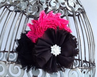 Hot pink and black hair clip, black hair flower, hot pink hair accessory, girls hair clip, flower hair clip hair accessory