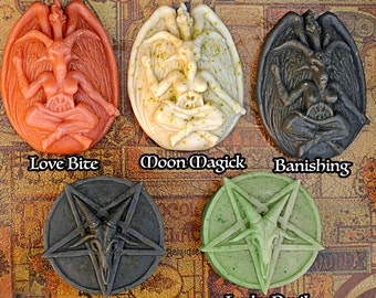 Bubble Baphomet or Inverted Pentagram Magick Ritual Soaps Vegan Love, Moon, Luck, Detox, Dark, Occult, Aromatherapy