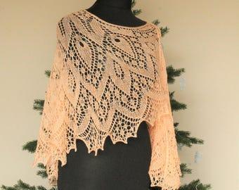 Crescent shaped Shawl. Knitted Shawl with Beads. Knitted Lace Shawl. Merino wool Shawl