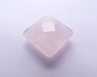 ANN-707 natural rose quartz faceted cushion