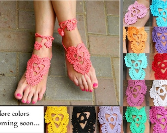 Boho wedding sandals hot pink barefoot sandals crochet sandals beach wedding bridal sandals yoga sandals toe ring sandal pure cotton