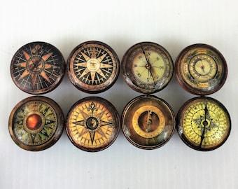 Set of 8 Vintage Compass Cabinet Knobs