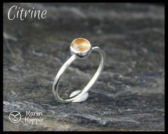 November birthstone ring - 5mm Yellow Citrine Skinny sterling silver ring, hammered, 1.2 mm ring. Skinny ring, thin ring, stacking ring.