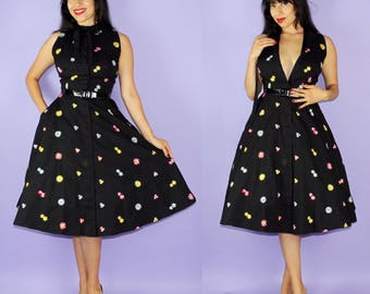 FLORAL... vintage 1950's L'Aiglon fashionable black cotton floral embroidered pinup dress