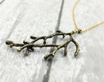 Tree Branch Pendant Necklace, Twig Necklace, Nature Woodland Forest Necklace, Rustic Necklace, Gift For Her