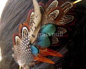 Feather Headband - PEMBERLEY MAIDEN - Pheasant & Guinea Feathers - Choose Headband or Clip