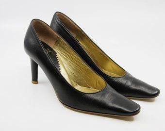 Vintage CHARLES JOURDAN Paris Stiletto Heels / Black Heels / Made in France / Size 4.5b UK