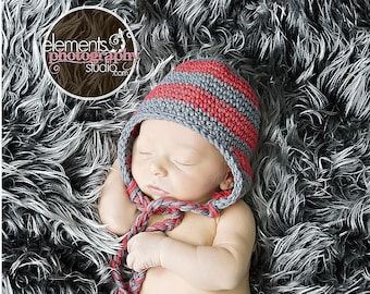 0-3 month red and grey striped beanie