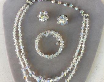 Vintage Aurora Borealis Crystal Necklace, Bracelet and Clip Earrings Set