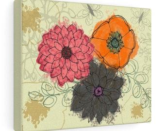 Butterfly Garden Print On Canvas