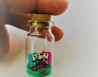 BMO Adventure Time in Tiny Glass Bottle