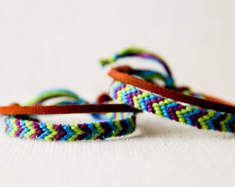 Friendship Bracelet Set for Friends or Couples Green Turquoise and Purple Woven Bracelet