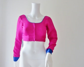 Pink and Blue Sari Blouse
