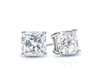 14k Gold 4-Prong Basket Cushion Cut Diamond Stud Earrings 0.50 ct. tw. (H-I, I1)