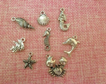 set of 8 pendants/charms sea theme