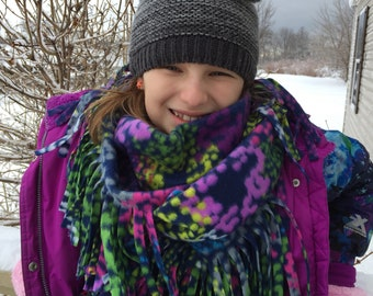 Fleece FRINGE infinity SCARF... 3 to Choose from... super Soft warm Cozy funky Handmade - Ready2Ship