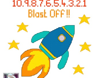 Racing Rocket (22) cross stitch pattern space countdown stars pdf instant download printable