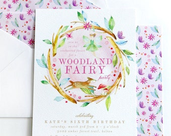Printable Woodland Fairy birthday invitation - Fairy party - Enchanted Forest birthday - Forest creatures - Birthday party - Customizable