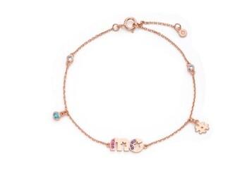 ME Lettering Silver Bracelet, Rose Gold