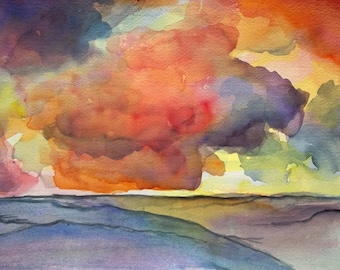 Thunderstorm Clouds, Clouds, Landscape by  the Sea, Germany, Original Watercolor, Abstract Landscape, Original Wall Art