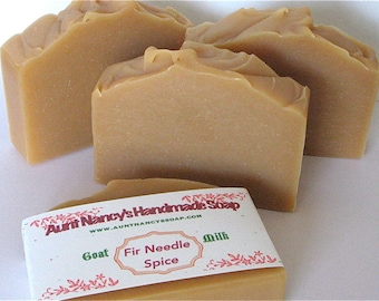 Fir Needle Spice Handmade Soap - Unisex Scent - Natural Homemade Goat Milk Soap Scented With Essential Oils - Fir Needle, Clove, Cinnamon