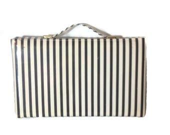 Vintage Joseph Magnin Black and White Striped Purse