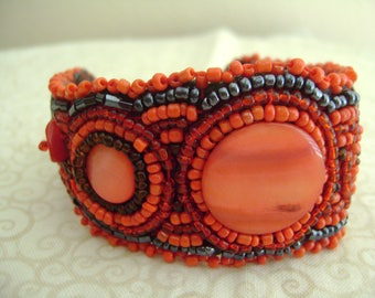 Handmade Hippie Style Bracelet with Seed and Glass Beads