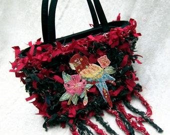 Hand made purse, crochet purse, handbag, rag bag, shabby chic bag, fringed bag, boho bag, purse, designer handbag