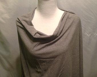 Nursing poncho Light gray Breastfeeding shawl/ scarf- turns into a scarf when finished!
