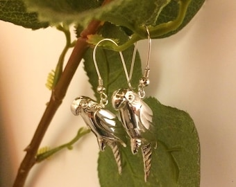 Parrot earrings, earrings with parrot, earrings with bird, earrings silver
