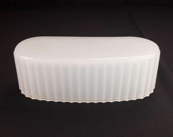 Kitchen or Bath Art Deco Oval Shaped Fluted Edge Translucent Slip Shade Only for Wall Sconce without Bracket Circa 1930s-40s