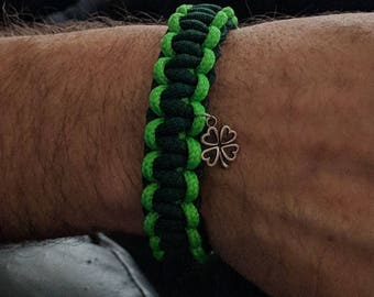 Luck of the Irish paracord green on green four-leaf Clover survival bracelet