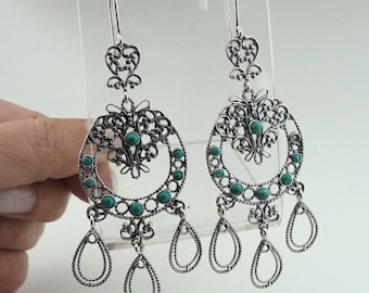925 Turquoise Earrings, Handcrafted 925 sterling Silver Earrings, Long Earrings,  Green stone earrings, Filigree Earrings, Gift (ms e