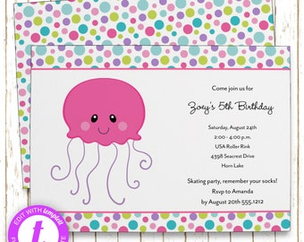 Pink Jellyfish Invitation | Kids Birthday | Printable Editable Digital PDF File | Templett | KBI375PinkDIY