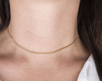 Curb Chain Choker Necklace in Sterling Silver or Gold Filled, Dainty Choker, Bridesmaids Necklace, Gold Choker Necklace, Layering Choker
