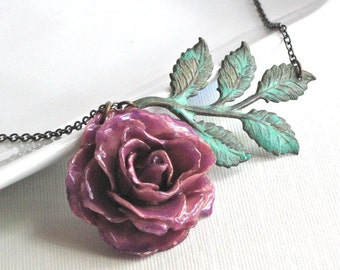 Preserved Purple Rose Necklace - Real, Flower Jewelry, Verdigris Brass, Leaves