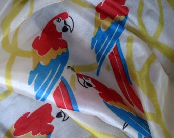 Vintage silk scarf-parrots-zoo-Damentuch-80 x 80 cm-vintage cloth from the 70 years-grandma's scarf