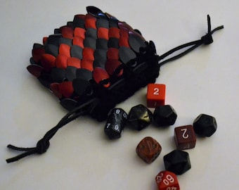 Scalemail Dice Bag Dragonhide Knitted Armor Small Red Black