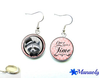 """Raccoon, """"Once upon a time"""", earrings 1457 glass cabochons"""