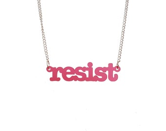 NEW! Cherry pink frost typewriter font RESIST necklace for persisters and resisters