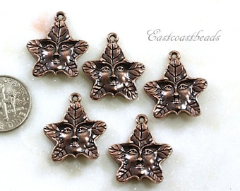 TierraCast Tree Spirit Charms, Copper Tree Spirit Drops, Jewelry Charms,  Antique Copper Plated Lead Free Pewter, 5 Pieces, 2118