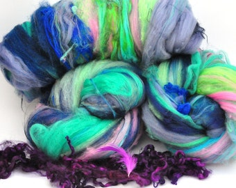 Textured, Chunky Carded Art Batts + Locks - Butterfly - 4.3 ounces - For Spinning or Felting