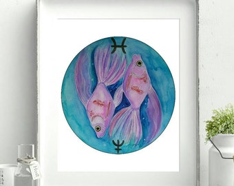Pisces Print - Zodiac Gift for Pisces - Zodiac Print - Astrology Art - Horoscope Gifts - Fish Decor - Nautical Art - Zodiac Signs