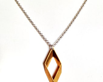 Geometric Pendant Necklace f/ Men. Guys Stainless Steel Jewelry. Gift for Him and Her. Unisex Jewelry. Rhombus shaped Pendant
