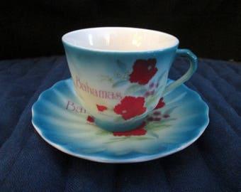Vintage Cup and Saucer Bahamas Souvenir Blue Green Floral Design