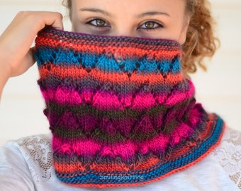 Infinity Cowl, Infinity Scarf,Ombre Scarf, Chunky Cowl, Hand Knit Cowl, Chevron Knit, Neck Warmer, Multicolor, Orange, Brown, Pink