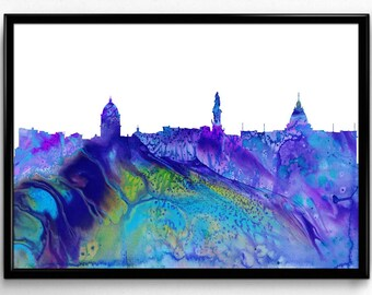 La Paz, Watercolor Painting, City Skyline, Home Decor, Room Decor, gift,Wall Art (1057)