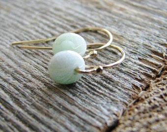 Lentil Bead Earrings Beaded Gold Filled Earrings Czech Glass Sea Foam Green Lentil Beads 14kt Gold Filled Ear Hooks Minimalist Modern