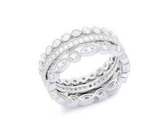 Rhodium plated Sterling Silver Cz stacker Ring